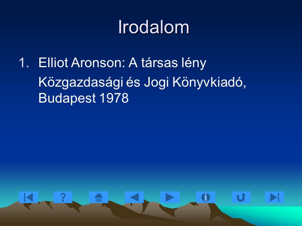 Irodalom Irodalom 1.Elliot Aronson: A társas lény Közgazdasági és Jogi Könyvkiadó, Budapest 1978