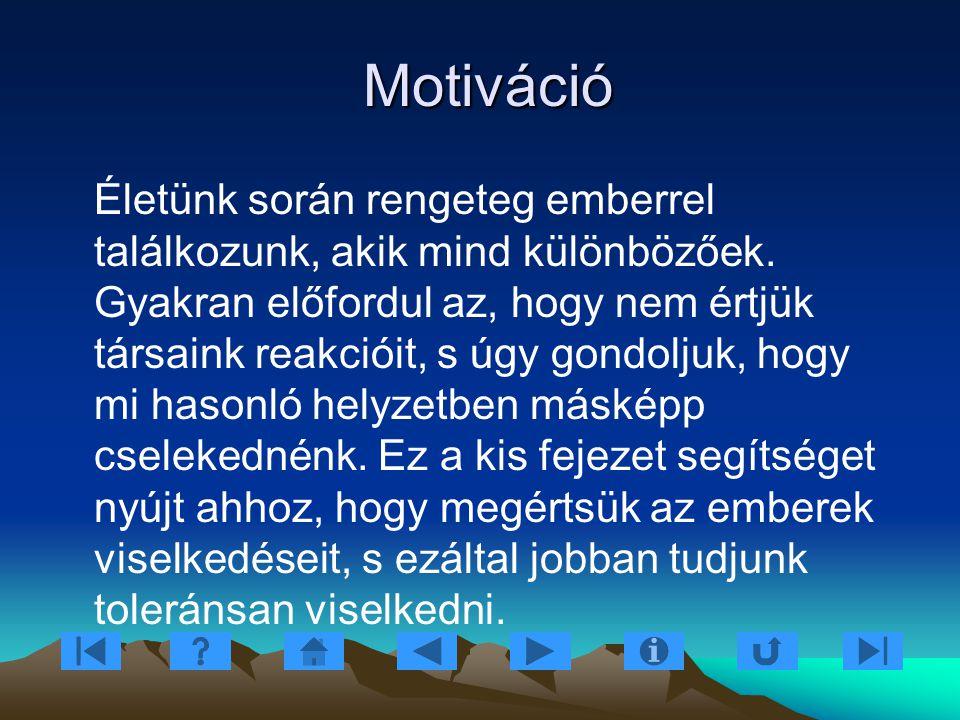 Motiváció Motiváció Életünk során rengeteg emberrel találkozunk, akik mind különbözőek. Gyakran előfordul az, hogy nem értjük társaink reakcióit, s úg