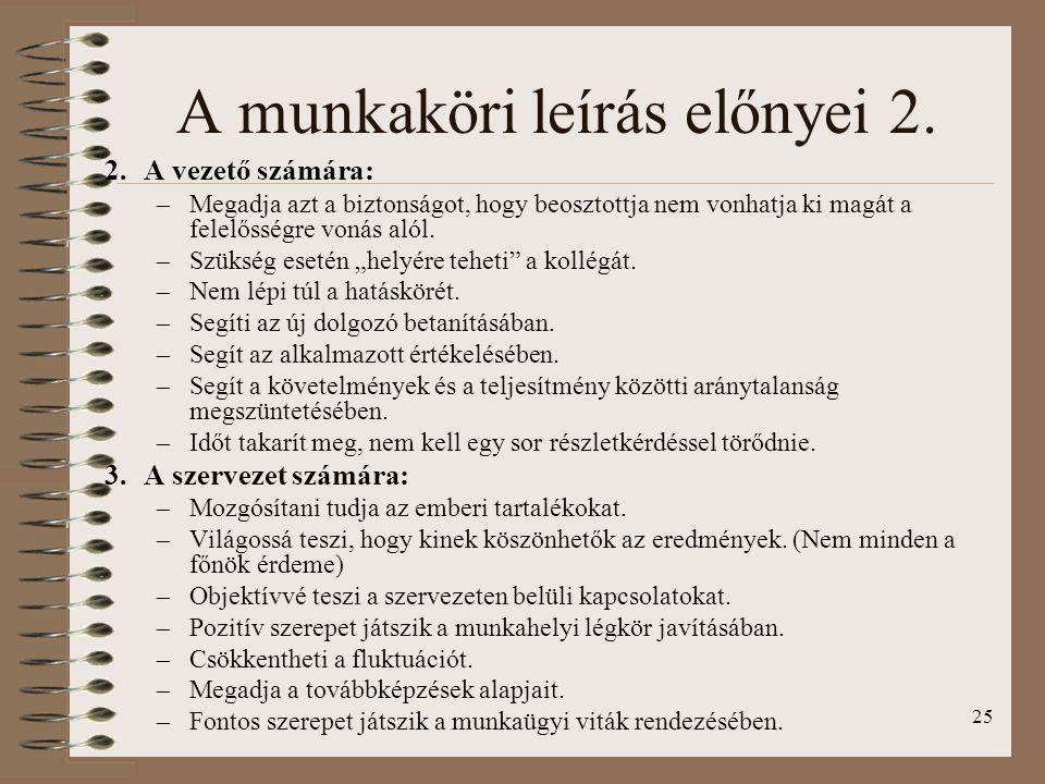 25 A munkaköri leírás előnyei 2.