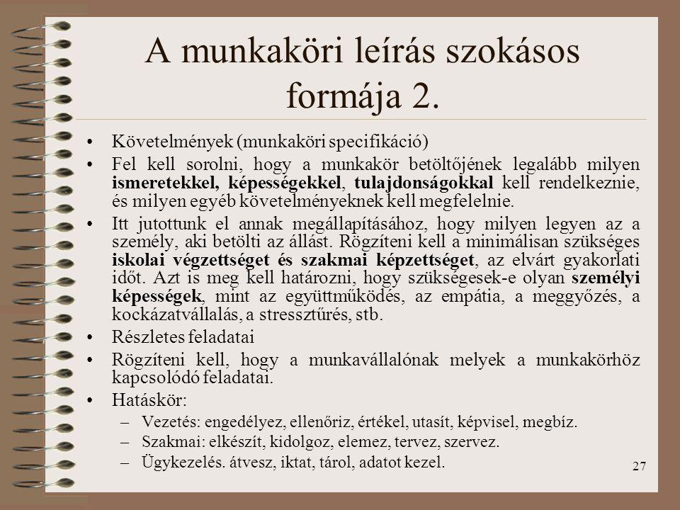 27 A munkaköri leírás szokásos formája 2.