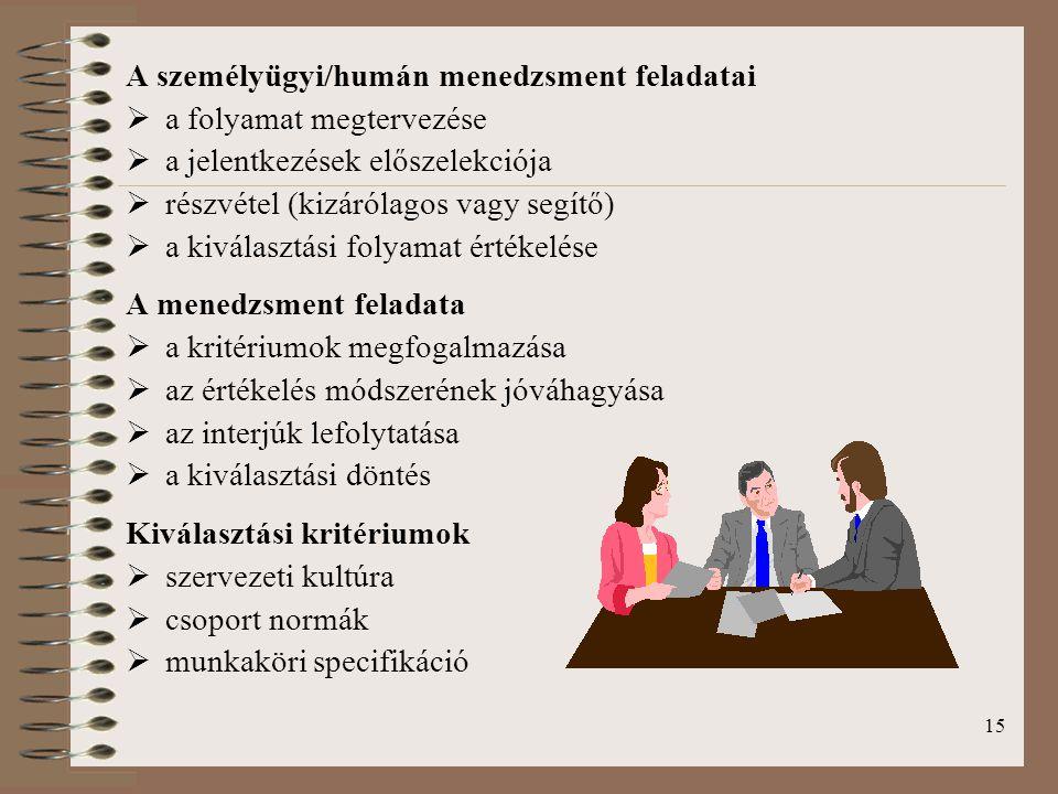 15 A személyügyi/humán menedzsment feladatai  a folyamat megtervezése  a jelentkezések előszelekciója  részvétel (kizárólagos vagy segítő)  a kivá