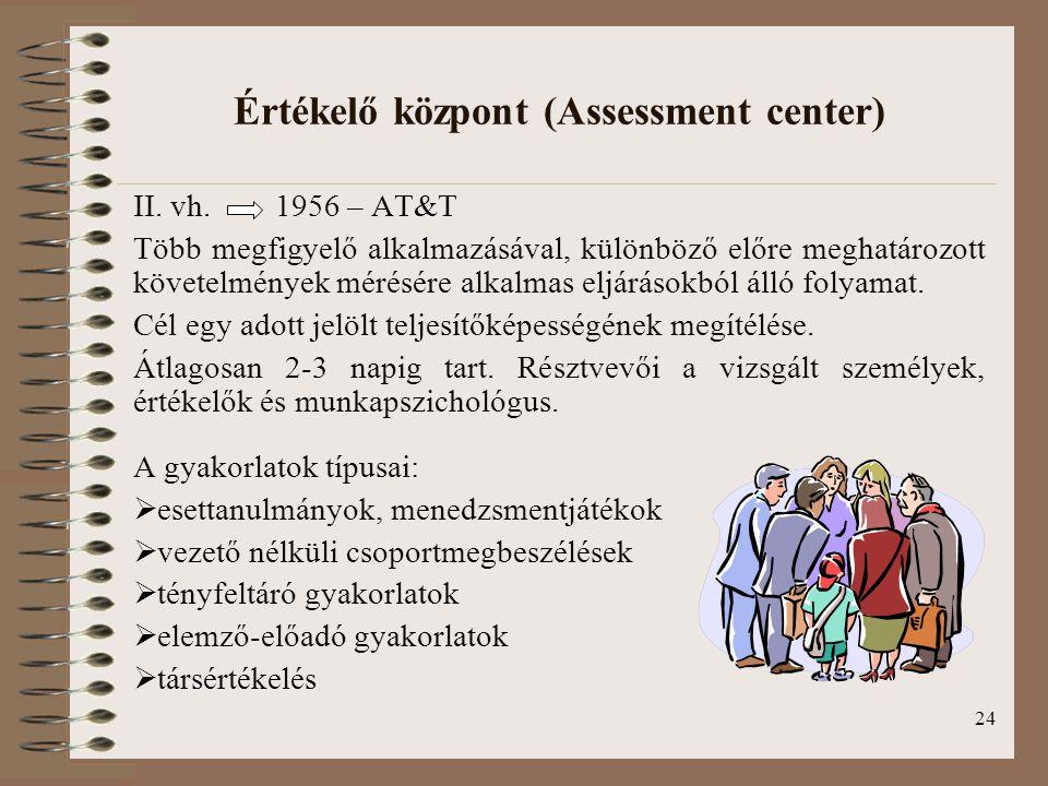 24 Értékelő központ (Assessment center) II. vh. 1956 – AT&T Több megfigyelő alkalmazásával, különböző előre meghatározott követelmények mérésére alkal