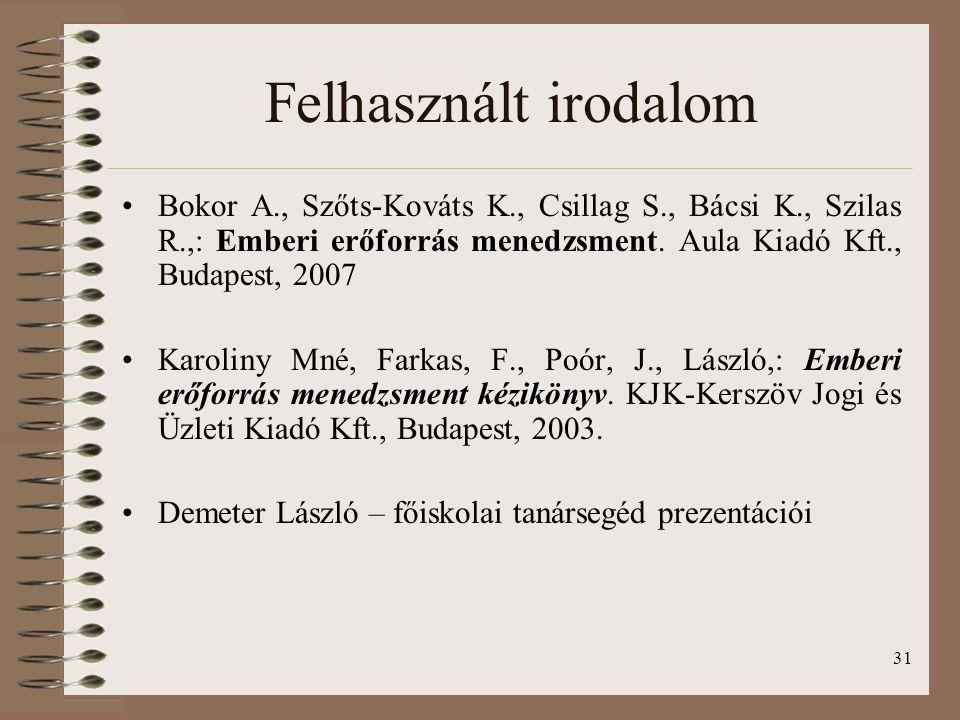 31 Bokor A., Szőts-Kováts K., Csillag S., Bácsi K., Szilas R.,: Emberi erőforrás menedzsment. Aula Kiadó Kft., Budapest, 2007 Karoliny Mné, Farkas, F.