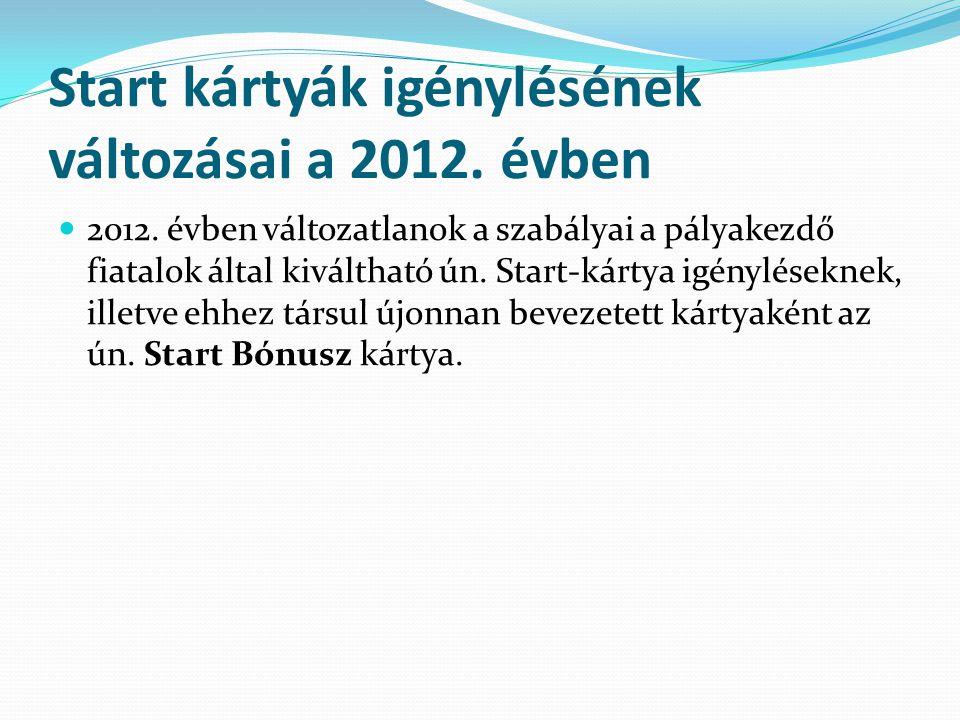 Start kártyák igénylésének változásai a 2012. évben 2012. évben változatlanok a szabályai a pályakezdő fiatalok által kiváltható ún. Start-kártya igén