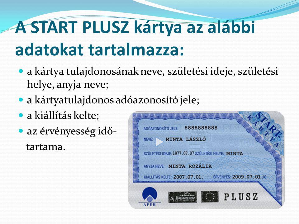 A START PLUSZ kártya az alábbi adatokat tartalmazza: a kártya tulajdonosának neve, születési ideje, születési helye, anyja neve; a kártyatulajdonos ad