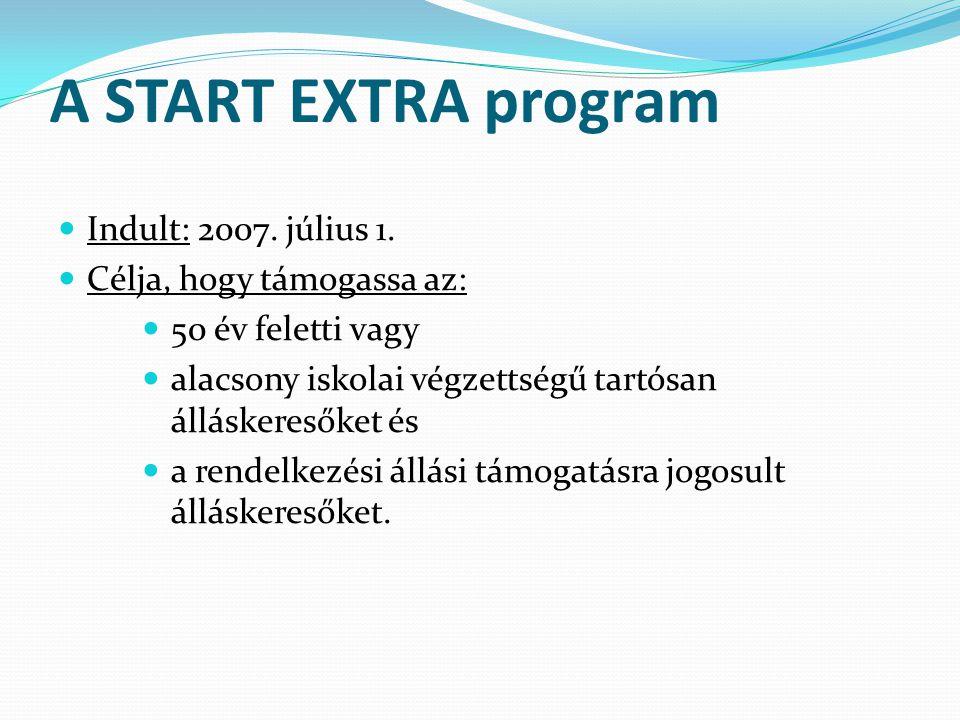 A START EXTRA program Indult: 2007. július 1. Célja, hogy támogassa az: 50 év feletti vagy alacsony iskolai végzettségű tartósan álláskeresőket és a r