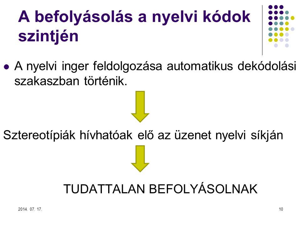 2014. 07. 17.10 A befolyásolás a nyelvi kódok szintjén A nyelvi inger feldolgozása automatikus dekódolási szakaszban történik. Sztereotípiák hívhatóak