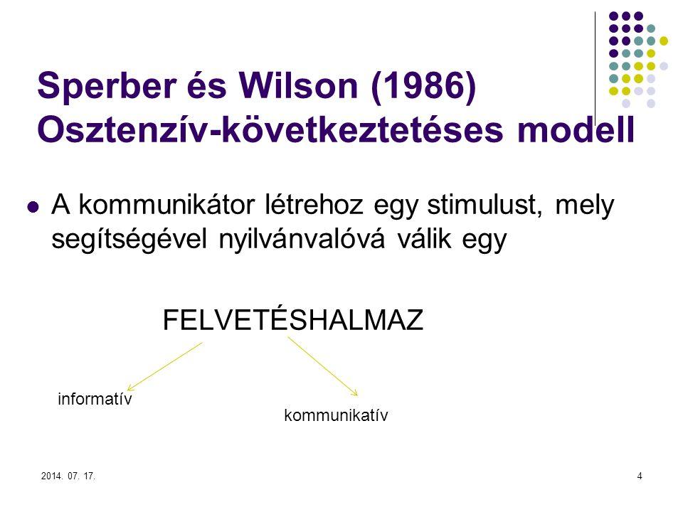 2014. 07. 17.4 Sperber és Wilson (1986) Osztenzív-következtetéses modell A kommunikátor létrehoz egy stimulust, mely segítségével nyilvánvalóvá válik