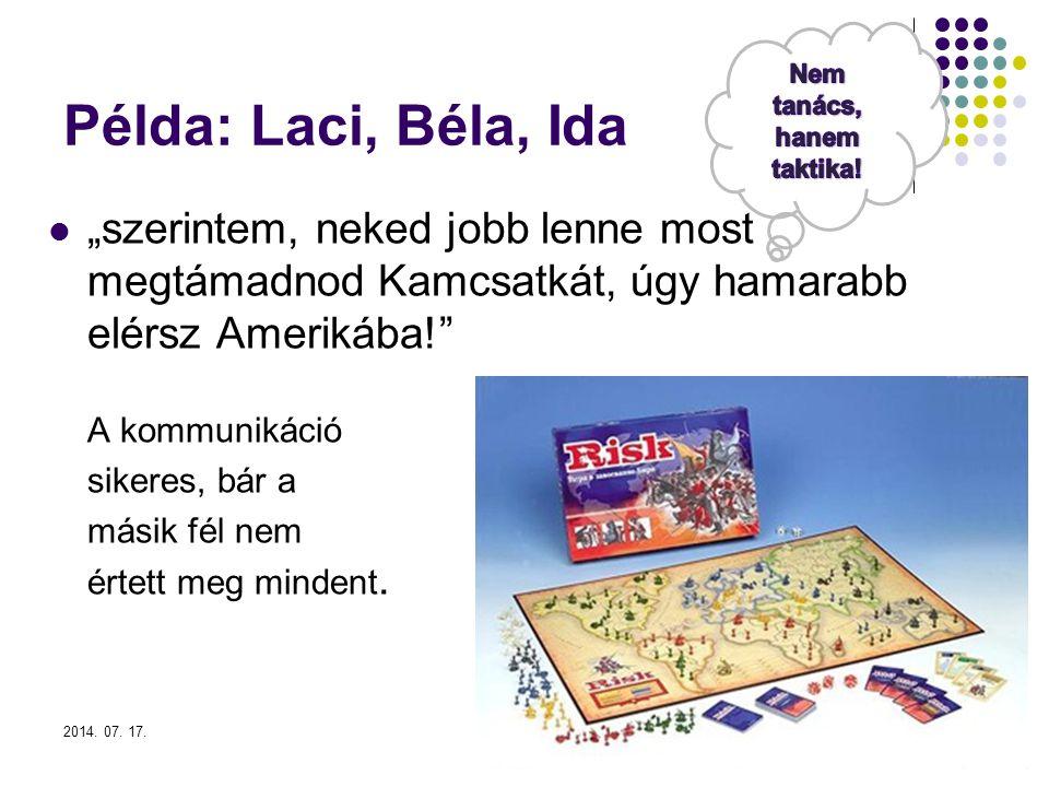 """2014. 07. 17.5 Példa: Laci, Béla, Ida """"szerintem, neked jobb lenne most megtámadnod Kamcsatkát, úgy hamarabb elérsz Amerikába!"""" A kommunikáció sikeres"""