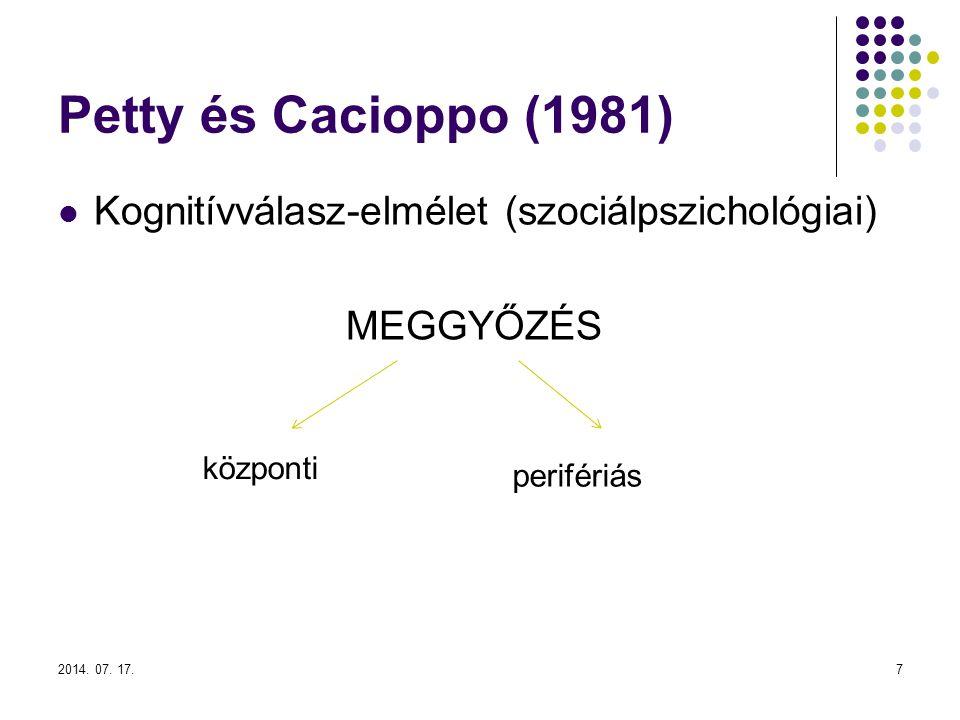 2014. 07. 17.7 Petty és Cacioppo (1981) Kognitívválasz-elmélet (szociálpszichológiai) MEGGYŐZÉS központi perifériás