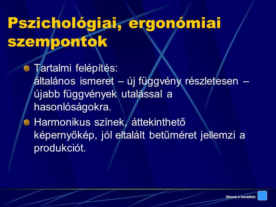 Vissza a menühöz Pszichológiai, ergonómiai szempontok Tartalmi felépítés: általános ismeret – új függvény részletesen – újabb függvények utalással a hasonlóságokra.