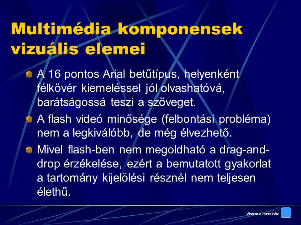 Vissza a menühöz Multimédia komponensek vizuális elemei A 16 pontos Arial betűtípus, helyenként félkövér kiemeléssel jól olvashatóvá, barátságossá teszi a szöveget.