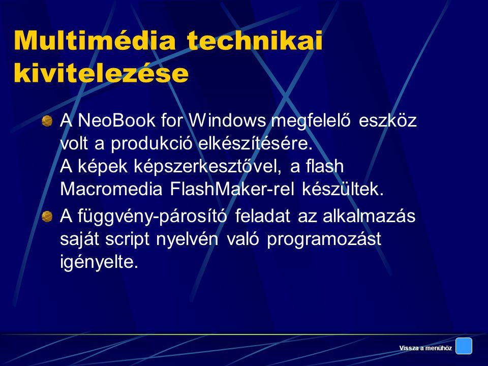 Vissza a menühöz Multimédia technikai kivitelezése A NeoBook for Windows megfelelő eszköz volt a produkció elkészítésére.