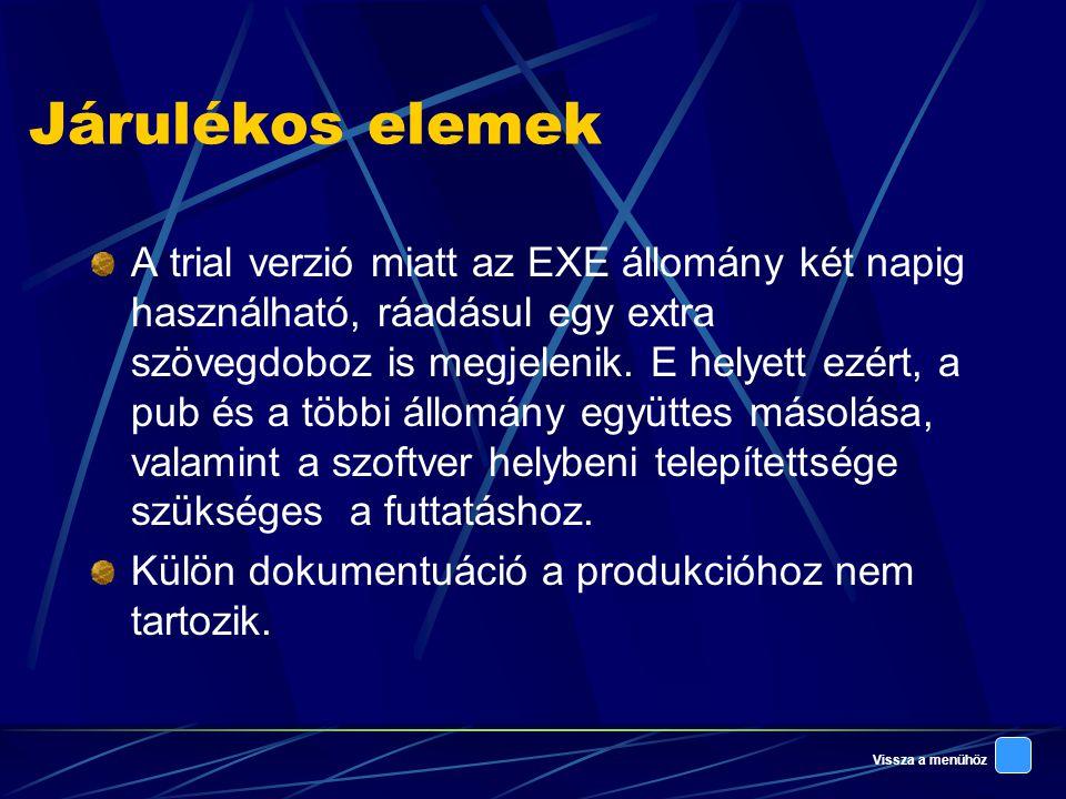 Vissza a menühöz Járulékos elemek A trial verzió miatt az EXE állomány két napig használható, ráadásul egy extra szövegdoboz is megjelenik.
