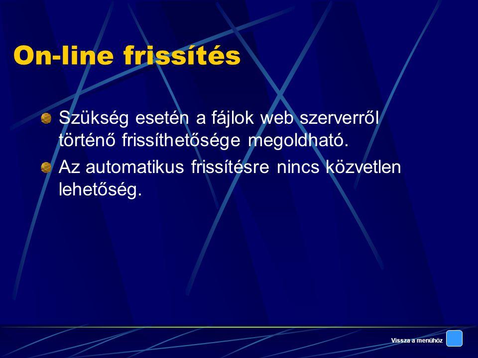 Vissza a menühöz On-line frissítés Szükség esetén a fájlok web szerverről történő frissíthetősége megoldható.