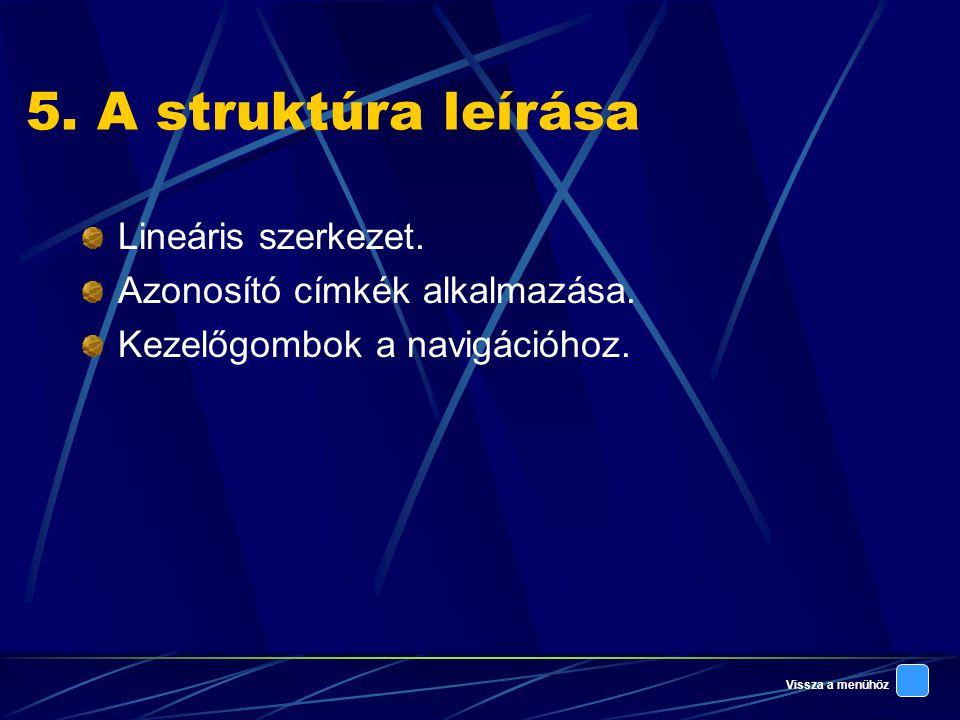 Vissza a menühöz 5.A struktúra leírása Lineáris szerkezet.