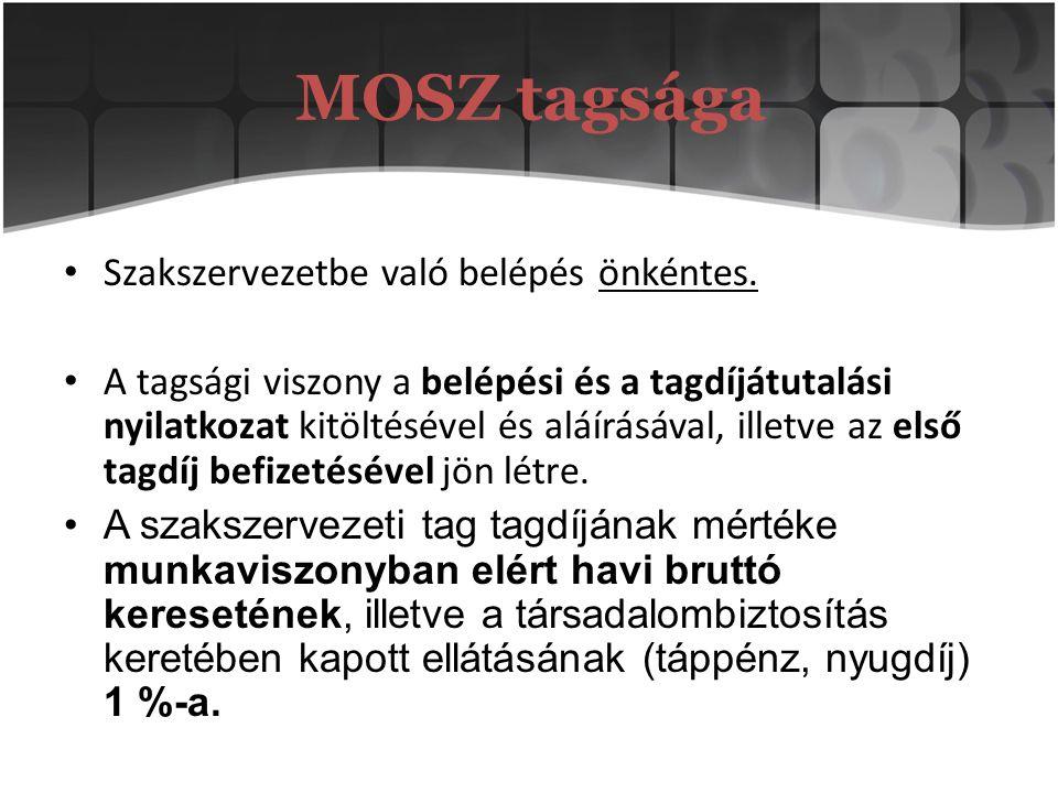 MOSZ tagsága Szakszervezetbe való belépés önkéntes. A tagsági viszony a belépési és a tagdíjátutalási nyilatkozat kitöltésével és aláírásával, illetve