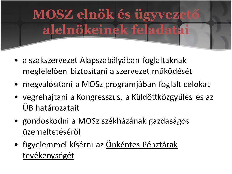 MOSZ elnök és ügyvezető alelnökeinek feladatai a szakszervezet Alapszabályában foglaltaknak megfelelően biztosítani a szervezet működését megvalósítan