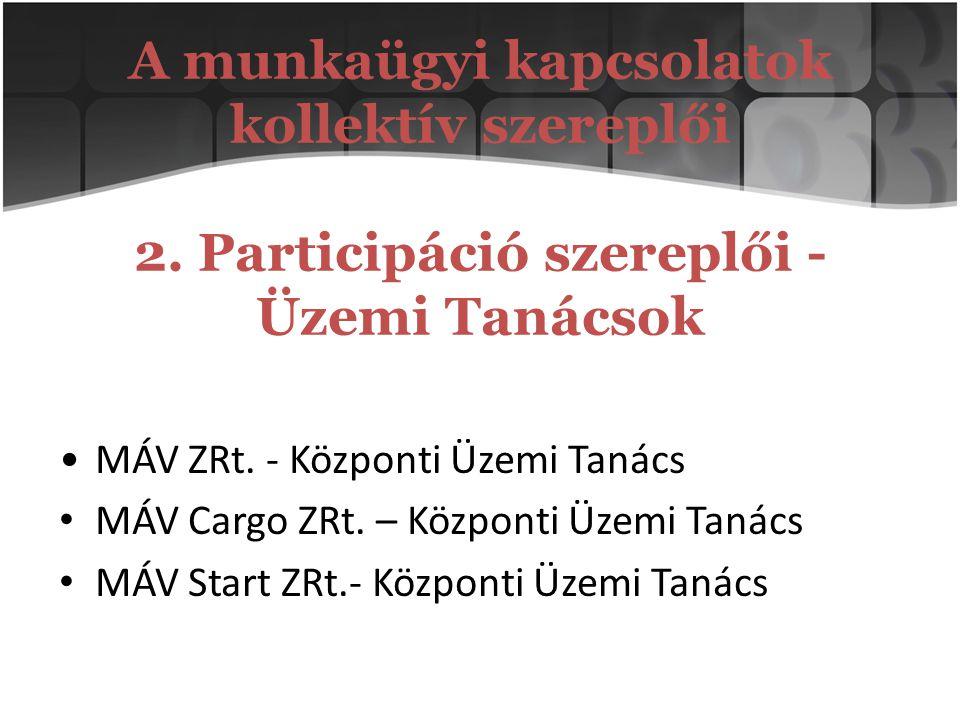 A munkaügyi kapcsolatok kollektív szereplői 2. Participáció szereplői - Üzemi Tanácsok MÁV ZRt. - Központi Üzemi Tanács MÁV Cargo ZRt. – Központi Üzem