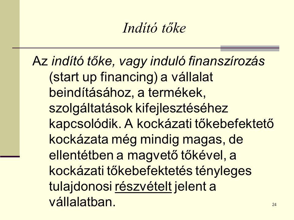 24 Indító tőke Az indító tőke, vagy induló finanszírozás (start up financing) a vállalat beindításához, a termékek, szolgáltatások kifejlesztéséhez ka