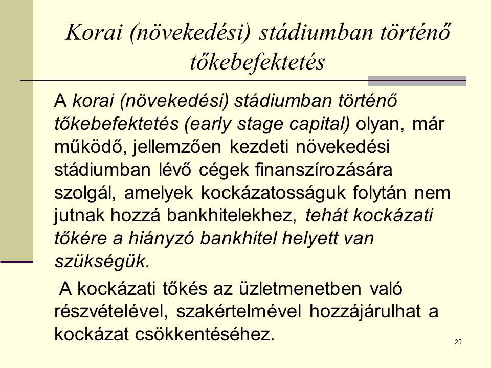 25 Korai (növekedési) stádiumban történő tőkebefektetés A korai (növekedési) stádiumban történő tőkebefektetés (early stage capital) olyan, már működő