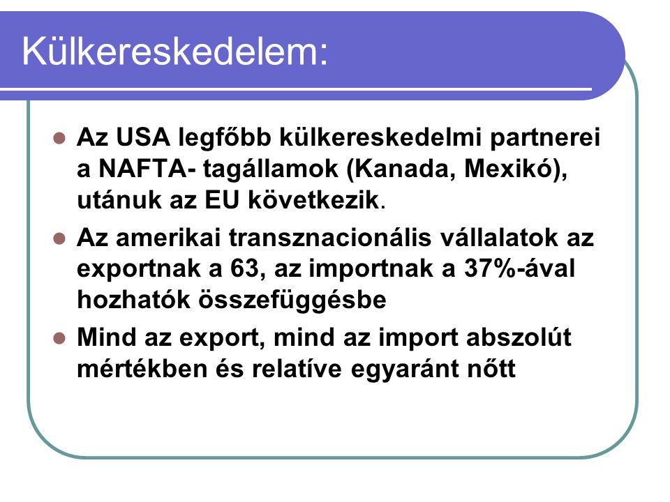 Külkereskedelem: Az USA legfőbb külkereskedelmi partnerei a NAFTA- tagállamok (Kanada, Mexikó), utánuk az EU következik. Az amerikai transznacionális