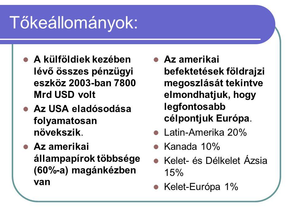 Tőkeállományok: A külföldiek kezében lévő összes pénzügyi eszköz 2003-ban 7800 Mrd USD volt Az USA eladósodása folyamatosan növekszik. Az amerikai áll