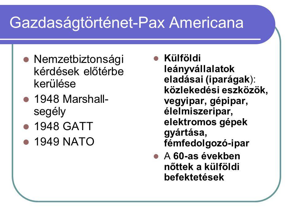 Gazdaságtörténet-Pax Americana Nemzetbiztonsági kérdések előtérbe kerülése 1948 Marshall- segély 1948 GATT 1949 NATO Külföldi leányvállalatok eladásai