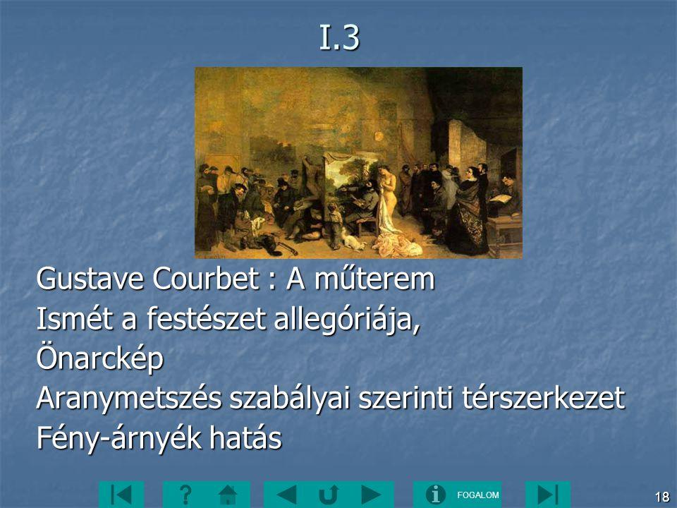 FOGALOM 18I.3 Gustave Courbet : A műterem Ismét a festészet allegóriája, Önarckép Aranymetszés szabályai szerinti térszerkezet Fény-árnyék hatás