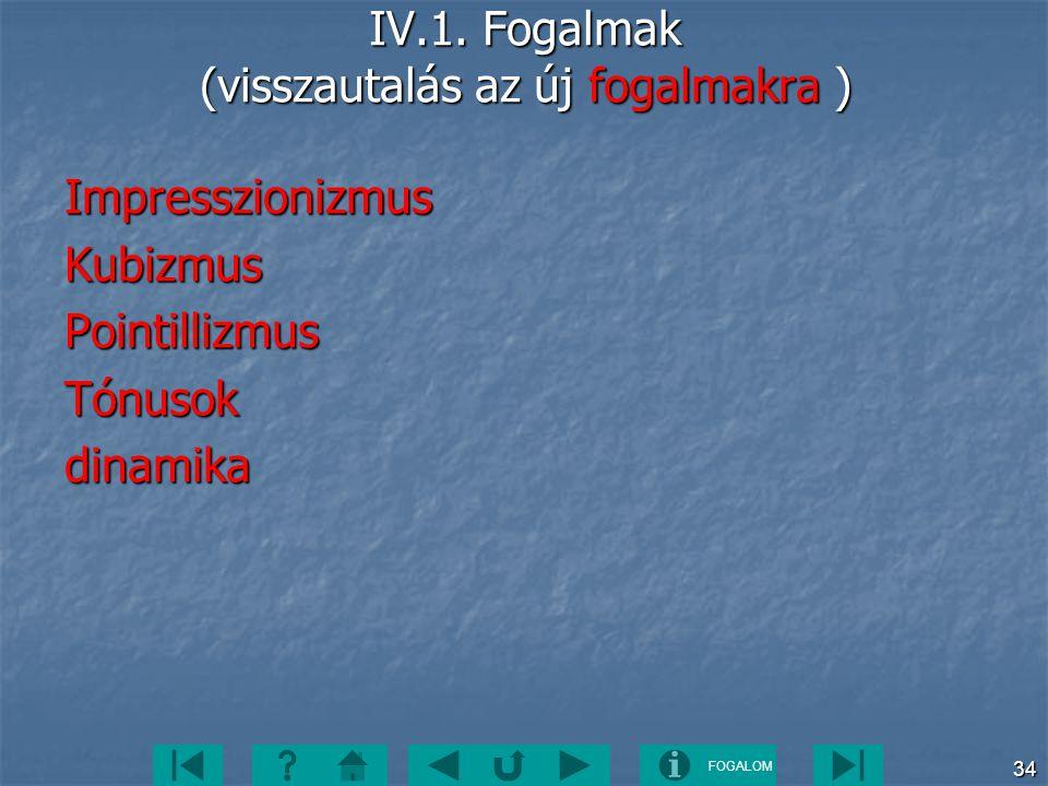 FOGALOM 34 IV.1. Fogalmak (visszautalás az új fogalmakra ) ImpresszionizmusKubizmusPointillizmusTónusokdinamika