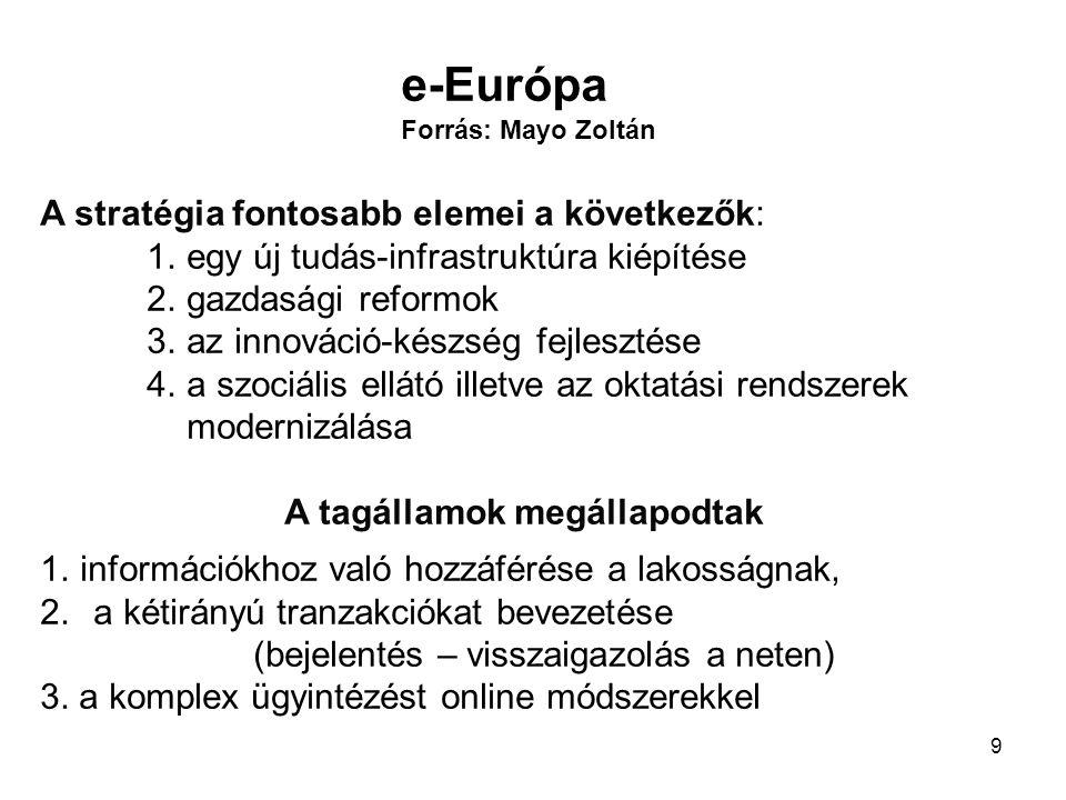 9 A stratégia fontosabb elemei a következők: 1.egy új tudás-infrastruktúra kiépítése 2.gazdasági reformok 3.az innováció-készség fejlesztése 4.a szociális ellátó illetve az oktatási rendszerek modernizálása A tagállamok megállapodtak 1.információkhoz való hozzáférése a lakosságnak, 2.a kétirányú tranzakciókat bevezetése (bejelentés – visszaigazolás a neten) 3.
