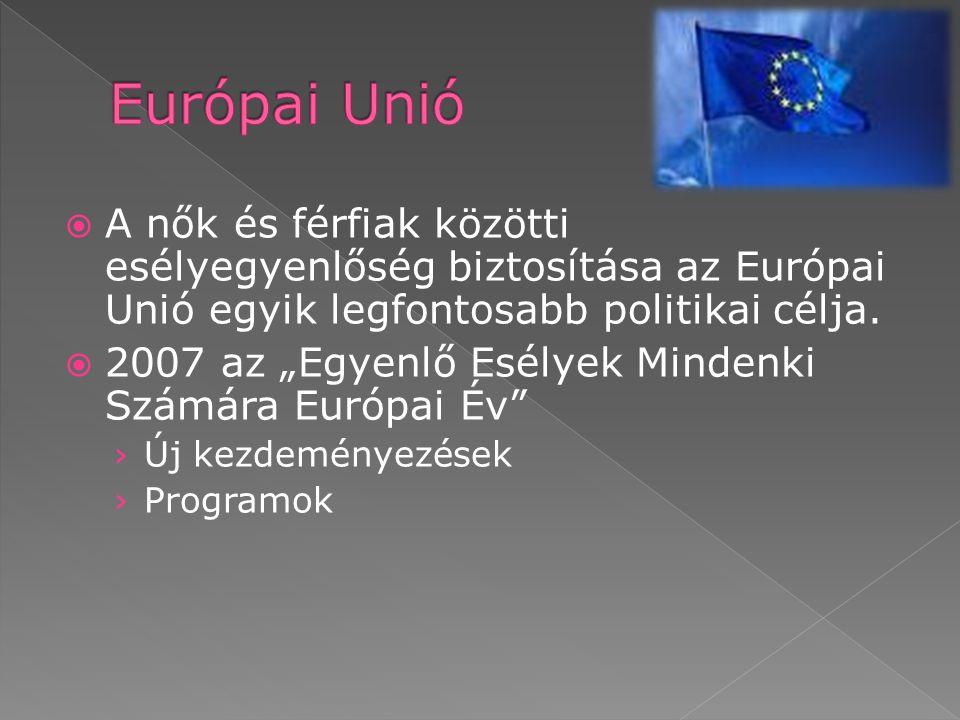  A nők és férfiak közötti esélyegyenlőség biztosítása az Európai Unió egyik legfontosabb politikai célja.