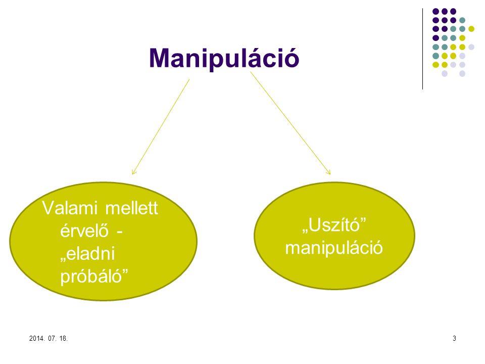 """Manipuláció 2014. 07. 18.3 """"Uszító manipuláció Valami mellett érvelő - """"eladni próbáló"""
