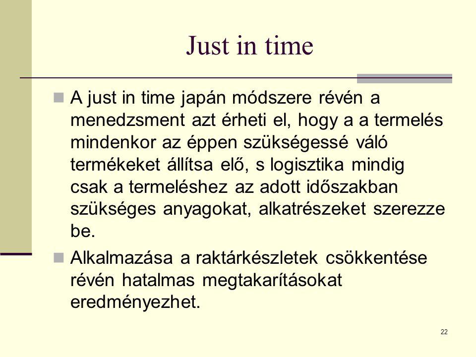 Just in time A just in time japán módszere révén a menedzsment azt érheti el, hogy a a termelés mindenkor az éppen szükségessé váló termékeket állítsa elő, s logisztika mindig csak a termeléshez az adott időszakban szükséges anyagokat, alkatrészeket szerezze be.