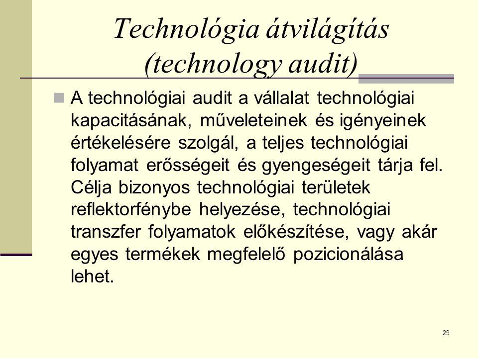 29 Technológia átvilágítás (technology audit) A technológiai audit a vállalat technológiai kapacitásának, műveleteinek és igényeinek értékelésére szolgál, a teljes technológiai folyamat erősségeit és gyengeségeit tárja fel.