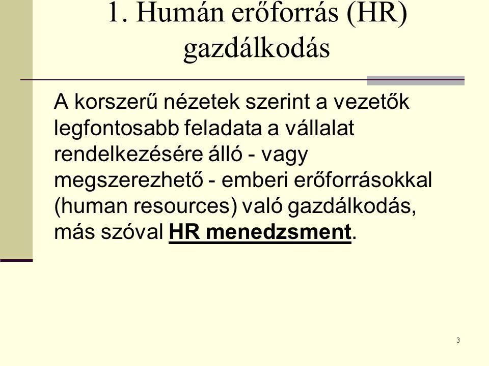 3 1. Humán erőforrás (HR) gazdálkodás A korszerű nézetek szerint a vezetők legfontosabb feladata a vállalat rendelkezésére álló - vagy megszerezhető -