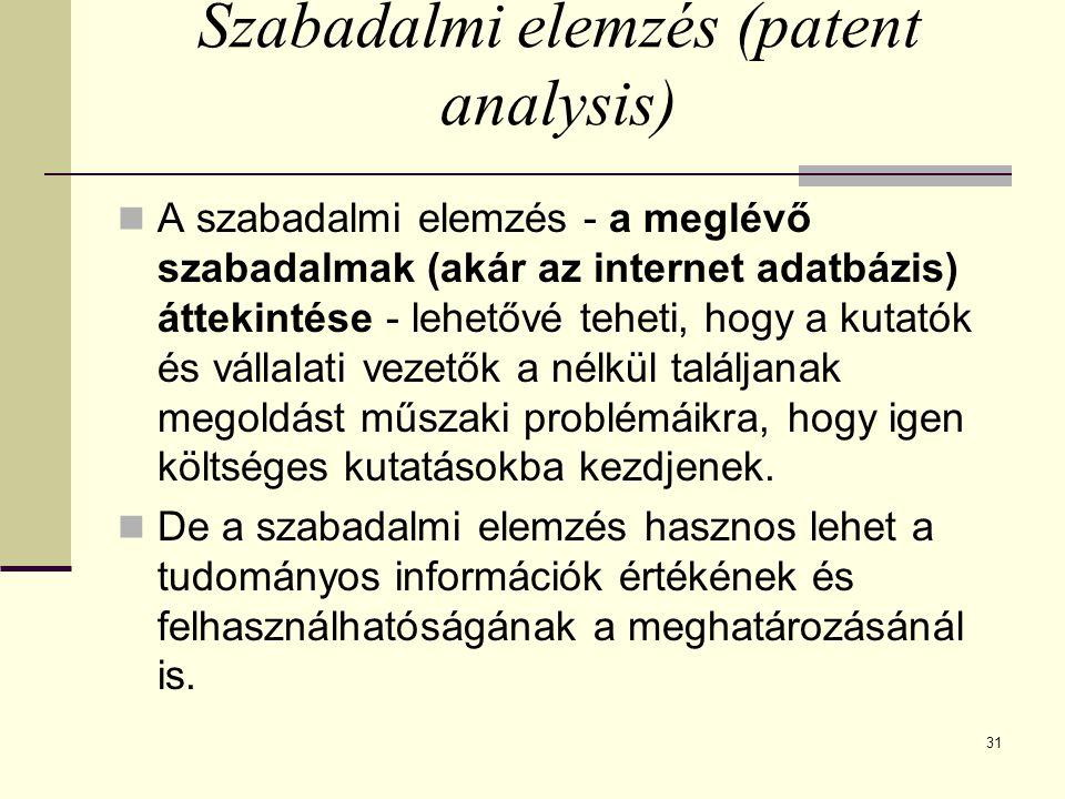 31 Szabadalmi elemzés (patent analysis) A szabadalmi elemzés - a meglévő szabadalmak (akár az internet adatbázis) áttekintése - lehetővé teheti, hogy
