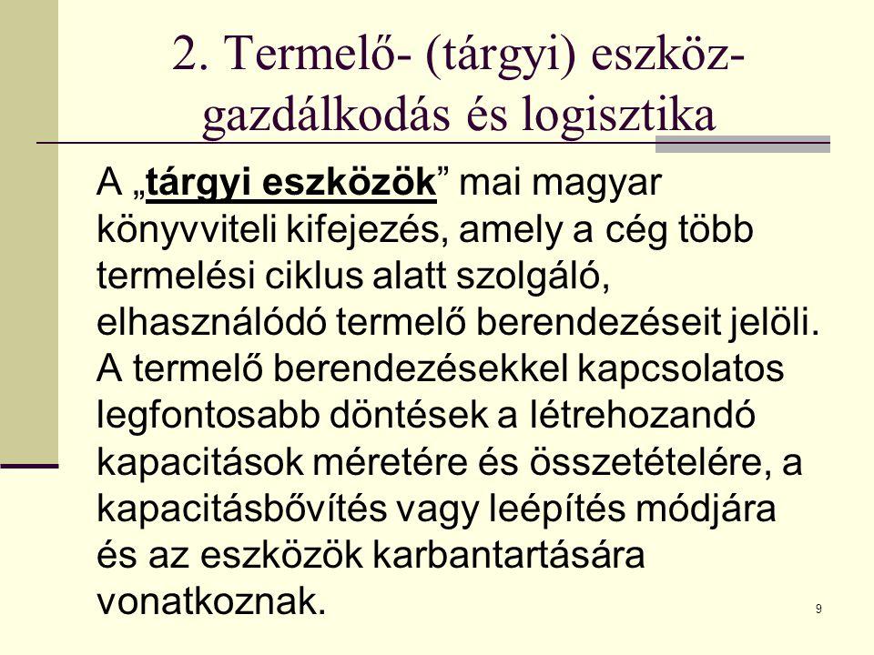 """9 2. Termelő- (tárgyi) eszköz- gazdálkodás és logisztika A """"tárgyi eszközök"""" mai magyar könyvviteli kifejezés, amely a cég több termelési ciklus alatt"""