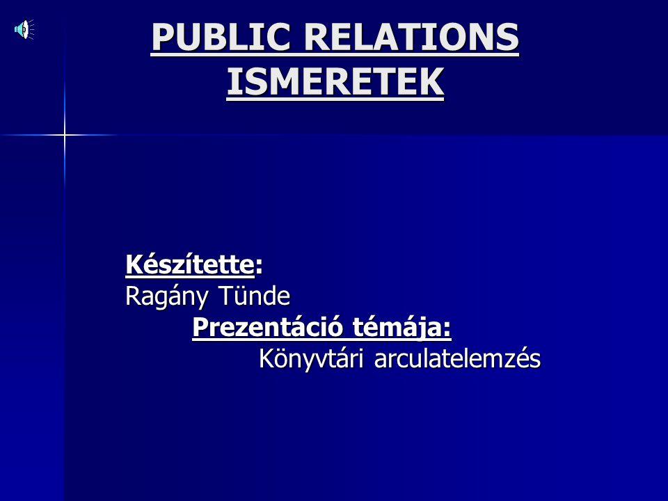 PUBLIC RELATIONS ISMERETEK Készítette: Ragány Tünde Prezentáció témája: Könyvtári arculatelemzés