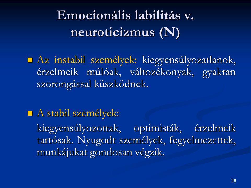 26 Emocionális labilitás v. neuroticizmus (N) Az instabil személyek: kiegyensúlyozatlanok, érzelmeik múlóak, változékonyak, gyakran szorongással küszk
