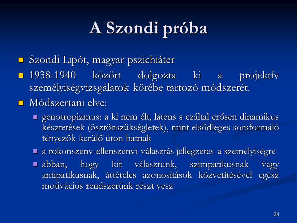 34 A Szondi próba Szondi Lipót, magyar pszichiáter Szondi Lipót, magyar pszichiáter 1938-1940 között dolgozta ki a projektív személyiségvizsgálatok kö