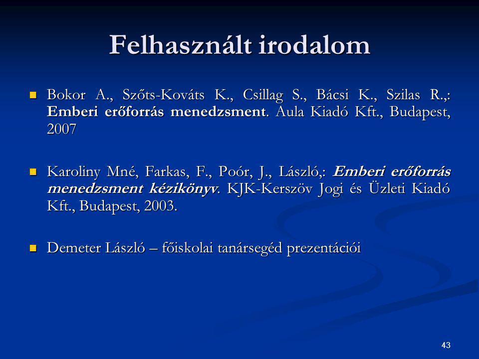 43 Bokor A., Szőts-Kováts K., Csillag S., Bácsi K., Szilas R.,: Emberi erőforrás menedzsment. Aula Kiadó Kft., Budapest, 2007 Bokor A., Szőts-Kováts K