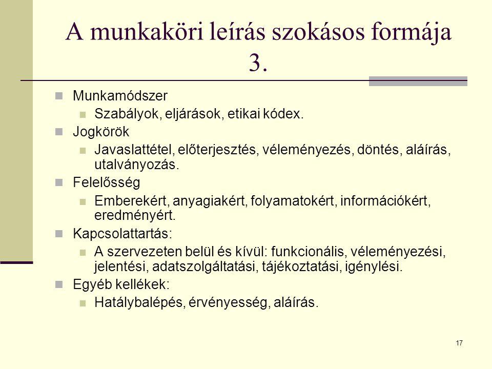 17 A munkaköri leírás szokásos formája 3. Munkamódszer Szabályok, eljárások, etikai kódex. Jogkörök Javaslattétel, előterjesztés, véleményezés, döntés