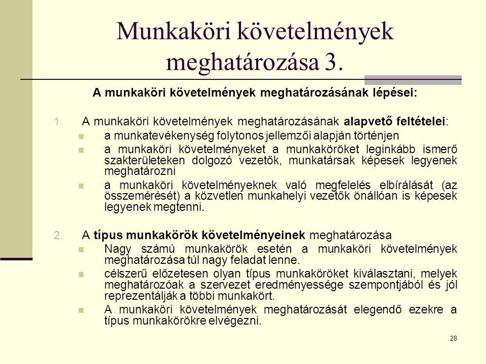 28 Munkaköri követelmények meghatározása 3. A munkaköri követelmények meghatározásának lépései: 1. A munkaköri követelmények meghatározásának alapvető