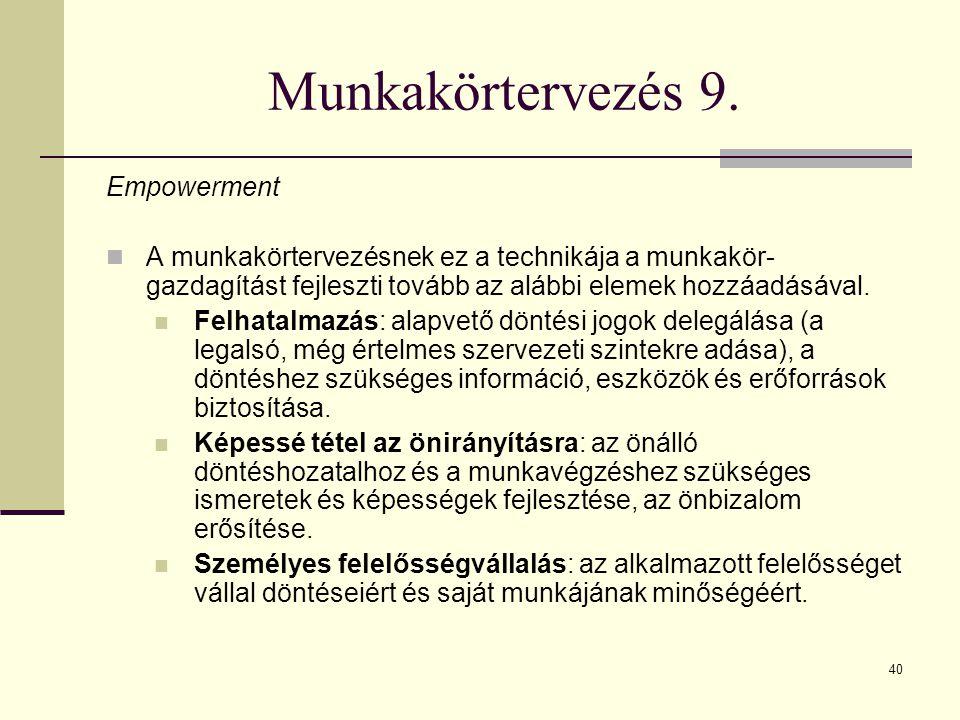40 Munkakörtervezés 9. Empowerment A munkakörtervezésnek ez a technikája a munkakör- gazdagítást fejleszti tovább az alábbi elemek hozzáadásával. Felh