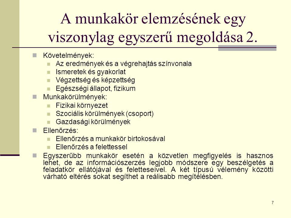 28 Munkaköri követelmények meghatározása 3.A munkaköri követelmények meghatározásának lépései: 1.