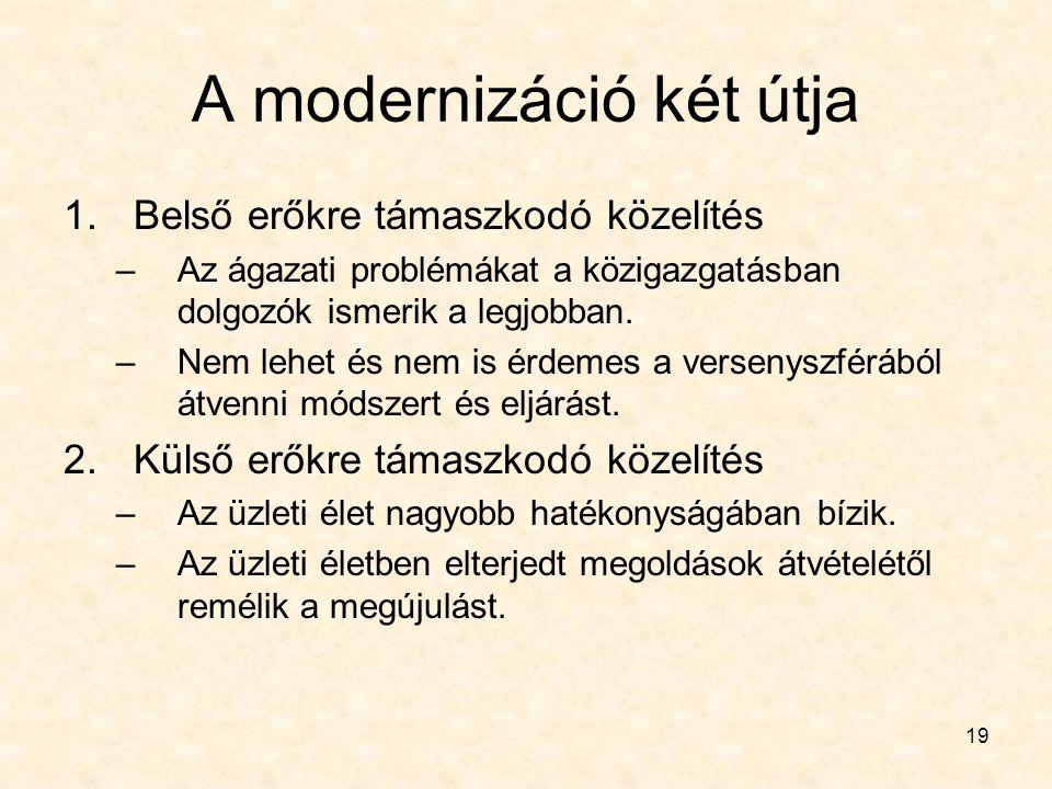 19 A modernizáció két útja 1.Belső erőkre támaszkodó közelítés –Az ágazati problémákat a közigazgatásban dolgozók ismerik a legjobban. –Nem lehet és n