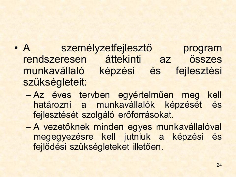 24 A személyzetfejlesztő program rendszeresen áttekinti az összes munkavállaló képzési és fejlesztési szükségleteit: –Az éves tervben egyértelműen meg