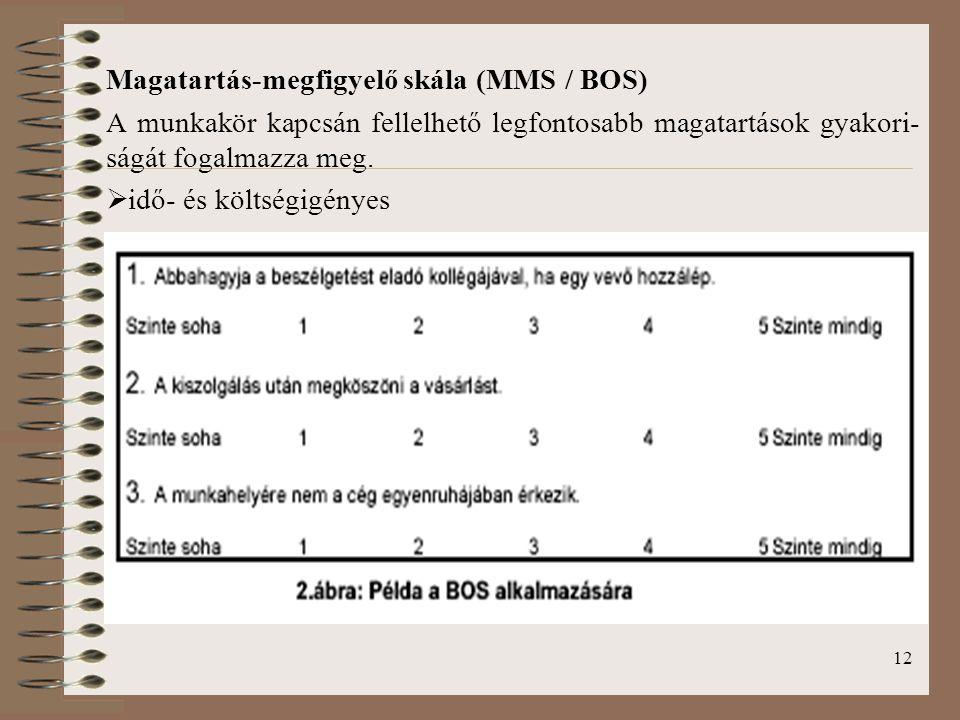 12 Magatartás-megfigyelő skála (MMS / BOS) A munkakör kapcsán fellelhető legfontosabb magatartások gyakori- ságát fogalmazza meg.  idő- és költségigé