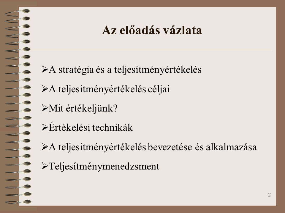 2 Az előadás vázlata  A stratégia és a teljesítményértékelés  A teljesítményértékelés céljai  Mit értékeljünk?  Értékelési technikák  A teljesítm
